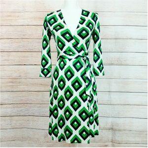 Diane Von Furstenberg Silk Geometric Wrap Dress